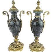 "LAYAWAY   Antique French Marble and Bronze Mounted Covered Urns ""ELEGANT"""