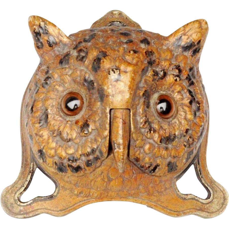 "1890  Painted German OWL Desk Bell ""BIG Glass Eyes"""