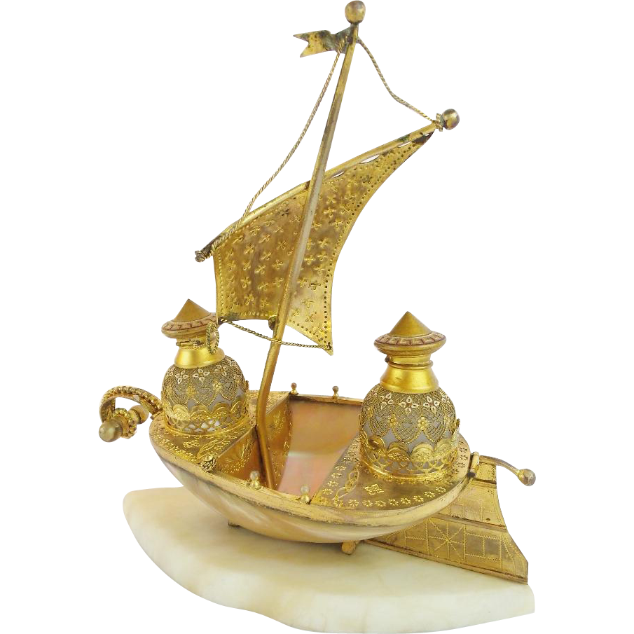 "BIG Palais Royal Mother of Pearl Opaline Scent Caddy Ship ""TWO OPALINE BOTTLES"""
