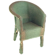 "Antique Doll Painted Wicker Arm Chair ""Adorable Painted Chair"""