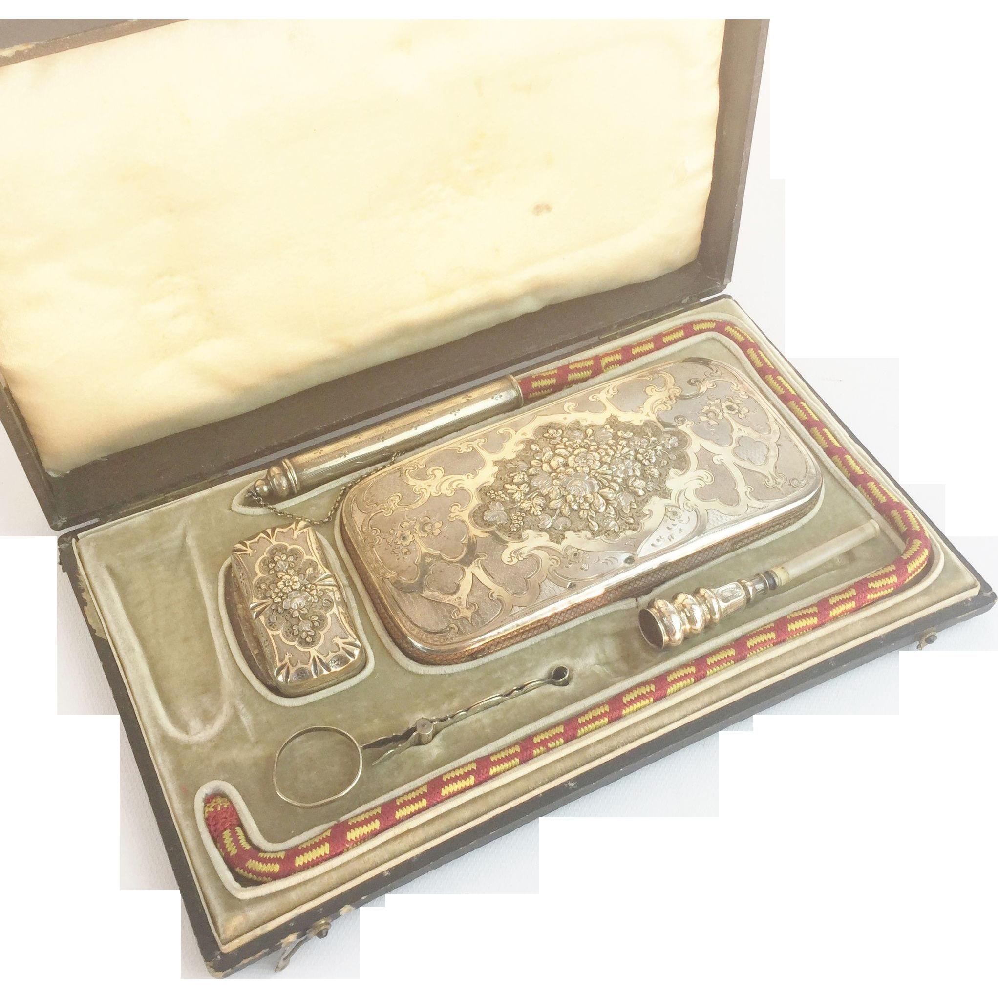 "19C Antique French Silver Smoke ""CHEROOT"" Set ""Original Presentation Case"""