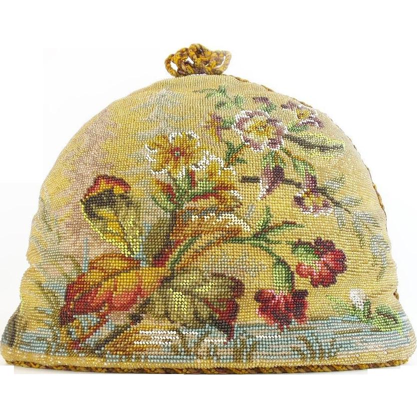 Beautiful  Antique Victorian Beadwork Tea Cozy