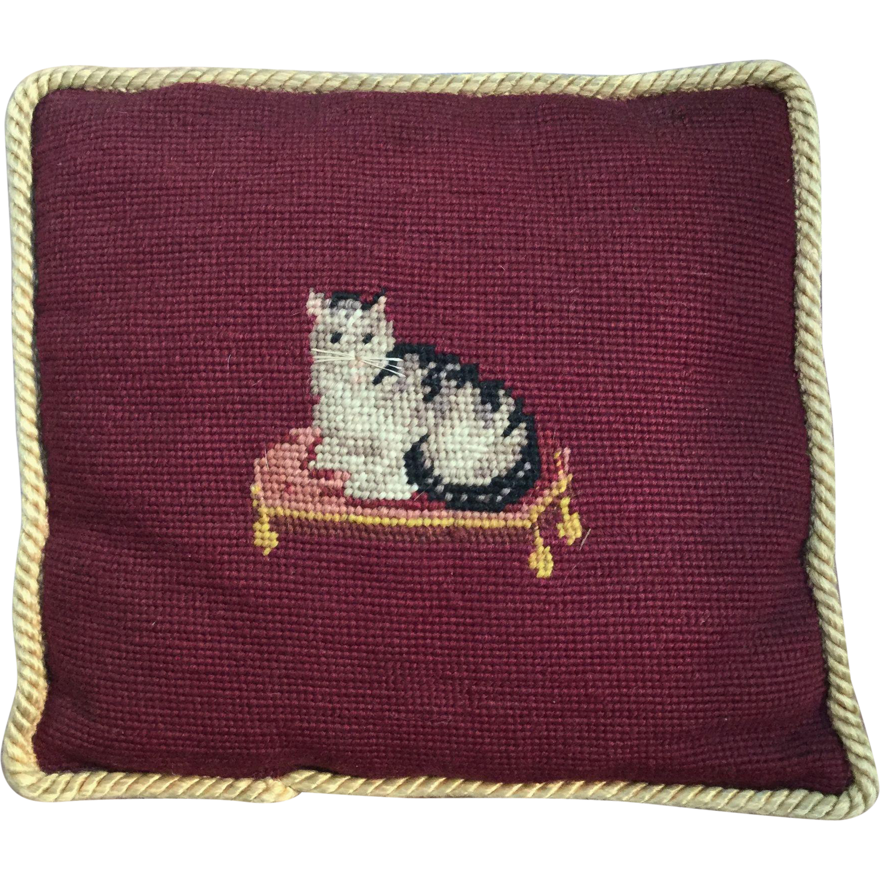 Darling Antique Little SASSY CAT Needlepoint Pillow