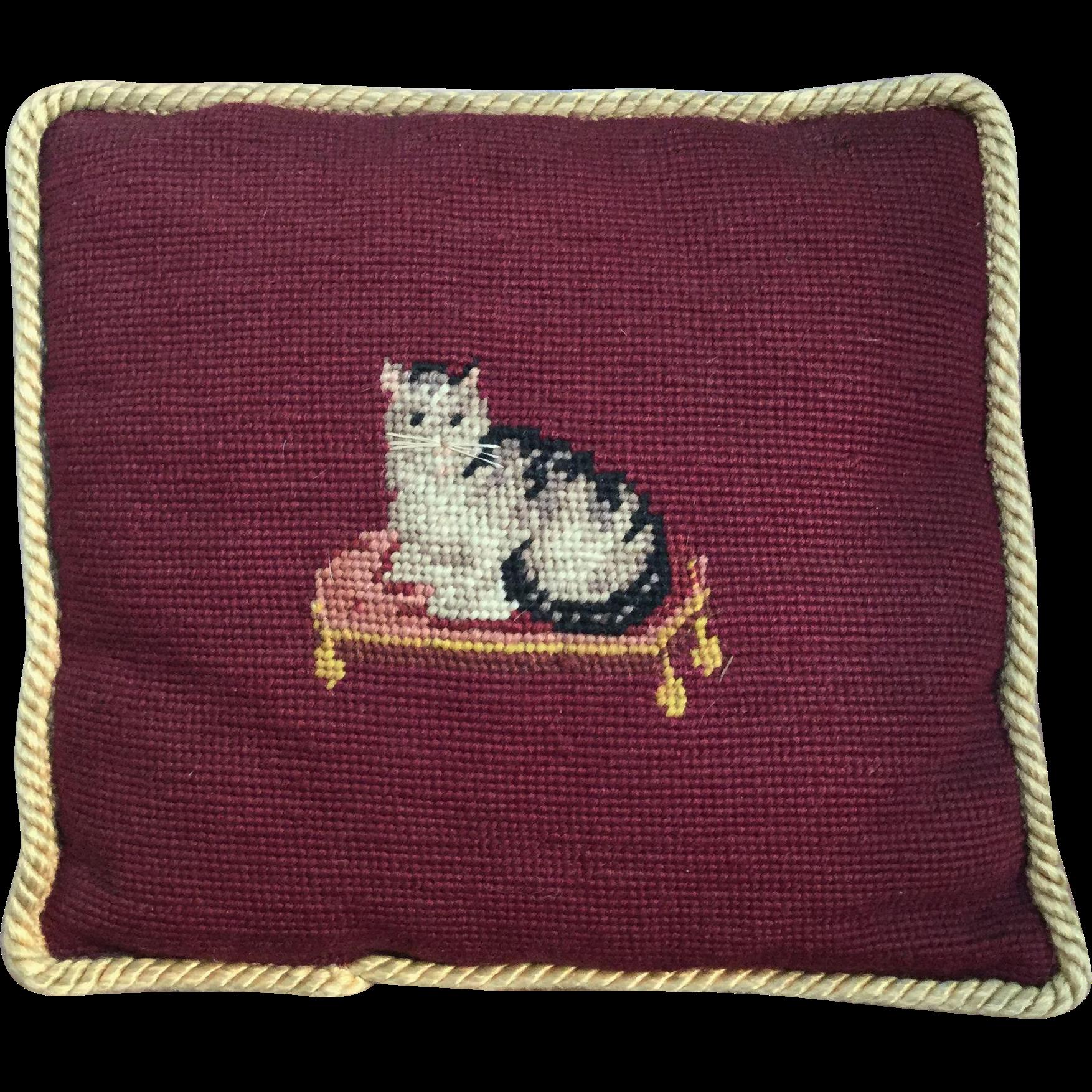 Darling Antique Little SASSY CAT Needlepoint Pillow