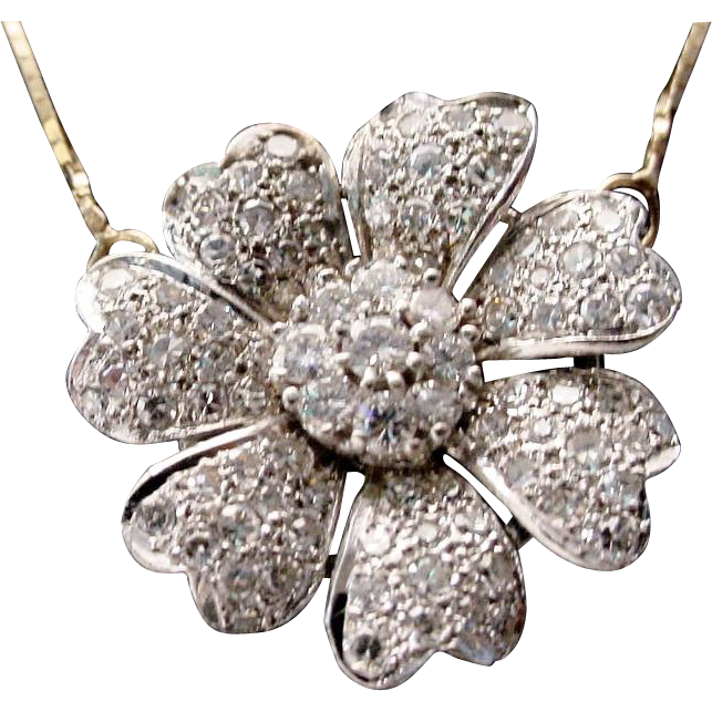 14KARAT Diamond Flower Necklace