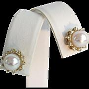Estate 14KARAT Pearl and Diamond Earrings