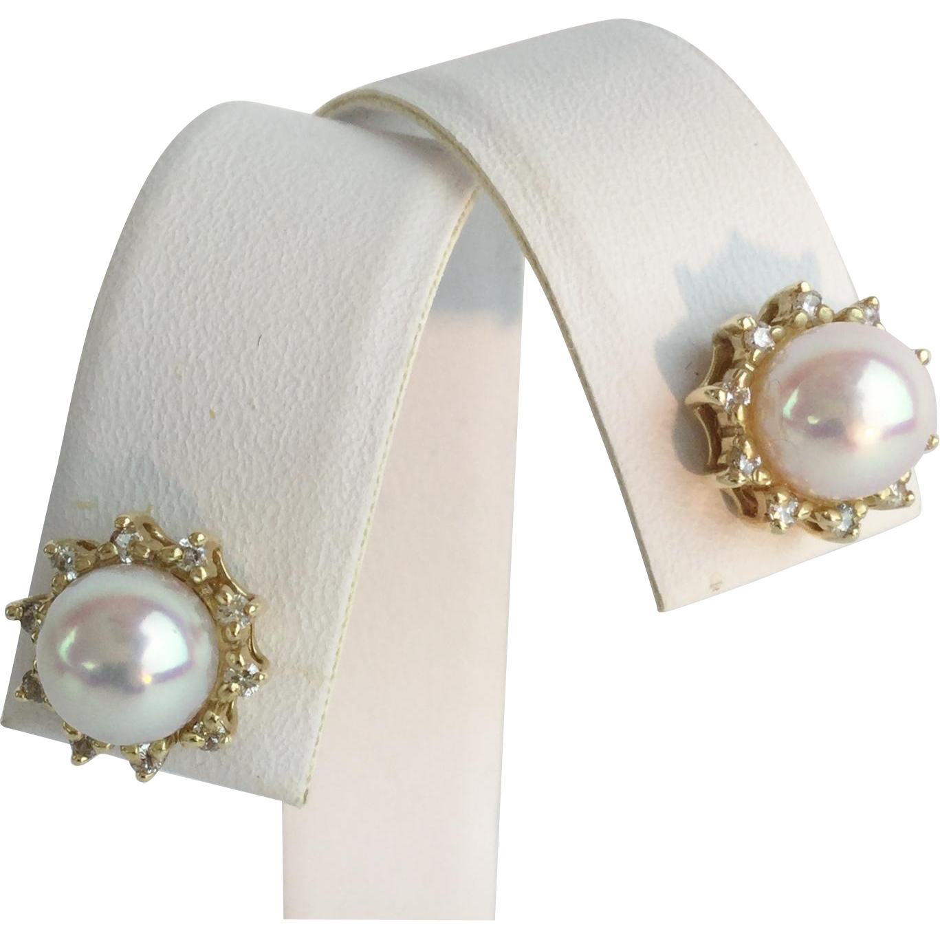 estate 14karat pearl and earrings from
