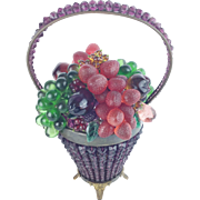"1920 Czech Glass Fruit Basket Lamp  ""RARE P U R P L E """