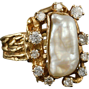 "LAYAWAY Vintage 14KARAT Baroque Pearl and Diamond Ring ""BEAUTIFUL"""