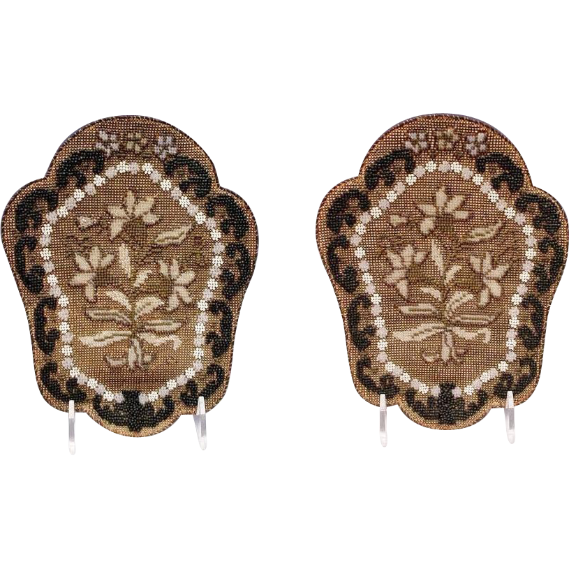 "PAIR Antique Beaded Panels   ""Beautiful Shield Shape """