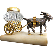 Grand Tour Goat Inkwell Cart 'EGLOMISE TOP""