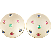 "14KARAT  TRIANON  Frosted Crystal Earrings "" Emeralds, Sapphires & Rubies """