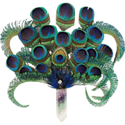 "Peacock Feathers With  Quartz Handle ""MAGNIFICENT"""