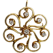 14KARAT Gold and Diamond Broach/Pendant