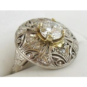 "Estate 1 Carat Diamond Platinum Filigree Ring ""MAGNIFICENT"""