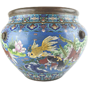 "Antique 20"" Chinese Cloisonne Cachepot ""BIG!  Fish & More Fish"""