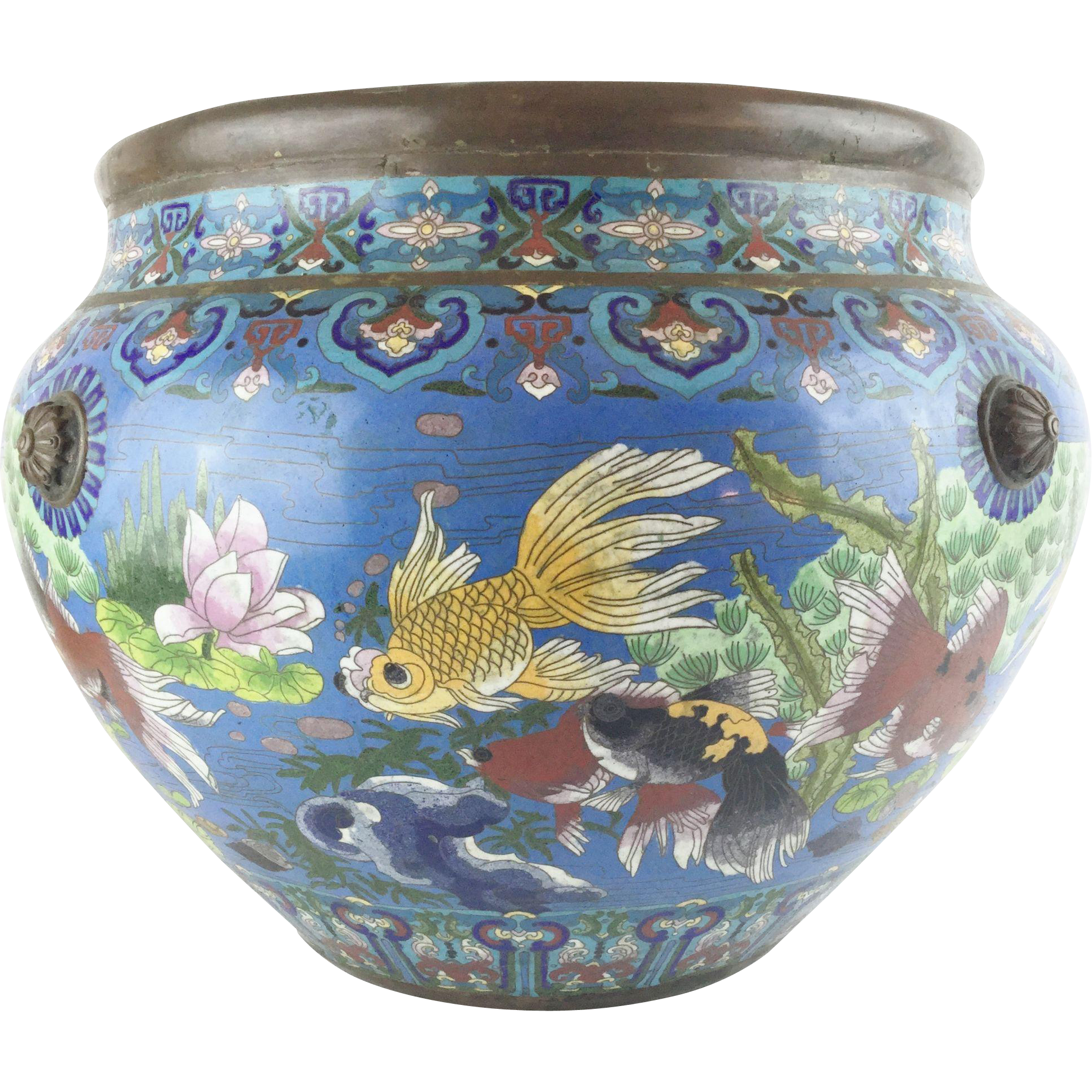 "LAYAWAY Antique 20"" Chinese Cloisonne Cachepot ""BIG!  Fish & More Fish"""