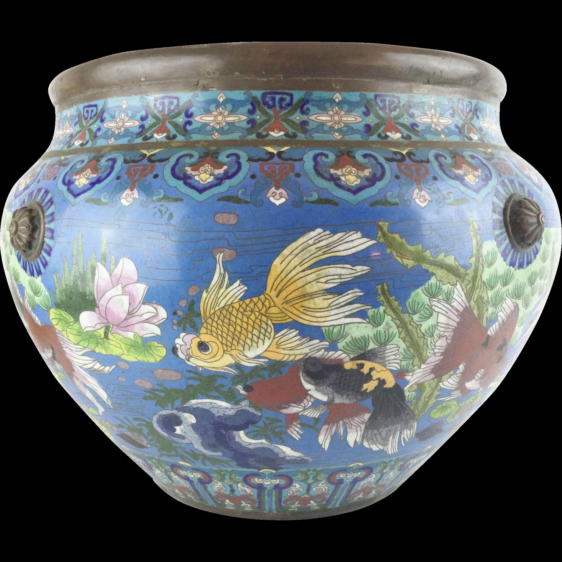 "Antique 20"" Chinese Cloisonne Cachepot ""BIG!  Fish & More Fish"""