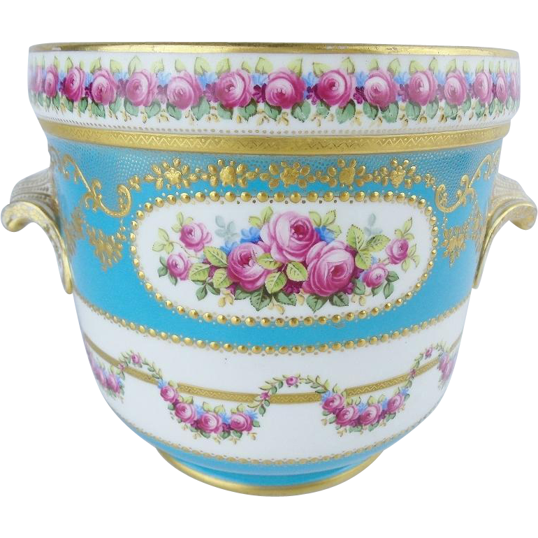 "Antique French Sevres Style Porcelain Cachepot ""Hand painted & Gold Encrusted"