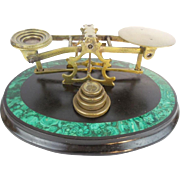 "Antique Malachite Brass Scales ""MORDAN LONDON & CO"""