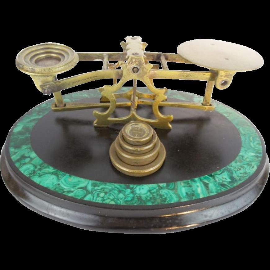 "Antique Malachite Brass Scales ""MORDAN LONDON & CO"""