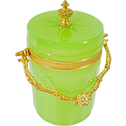 "Antique Green Opaline Covered Box ""Fancy Gilt Ormolu Mounts &  Finial"""