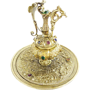 LAYAWAY. Antique French Jeweled Bronze Ewer Inkwell 'THE GRANDEST""