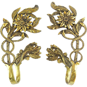 "Vintage Estate Brass Drapery Curtain Tie Backs ""Snakes,Flowers & Leaves"""