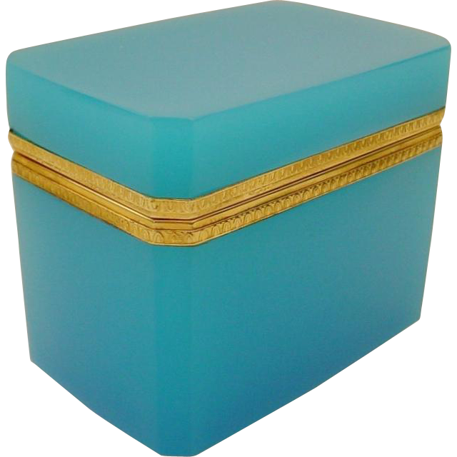 "Antique French Turquoise Blue Opaline Casket Hinged Box "" BEAUTIFUL MOUNTS"""