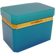 BIG Antique French Turquoise Opaline Casket Hinged Box