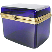 "Antique French Cobalt Casket Hinged Box    ""AWESOME Electrifying Color"""
