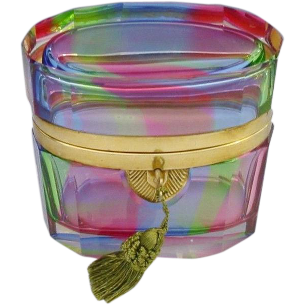 Antique French Rainbow Hinged Box...All the Colors Straight from the Rainbow