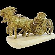 "Palais Royal  Goat Cart Inkwell  ""RARE TWIN GOATS"""