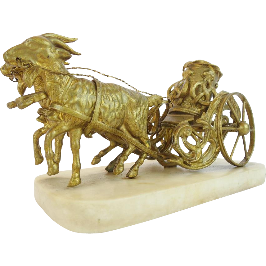 "Palais Royal  Goat Cart Inkwell  ""RARE TWIN GOATS"""