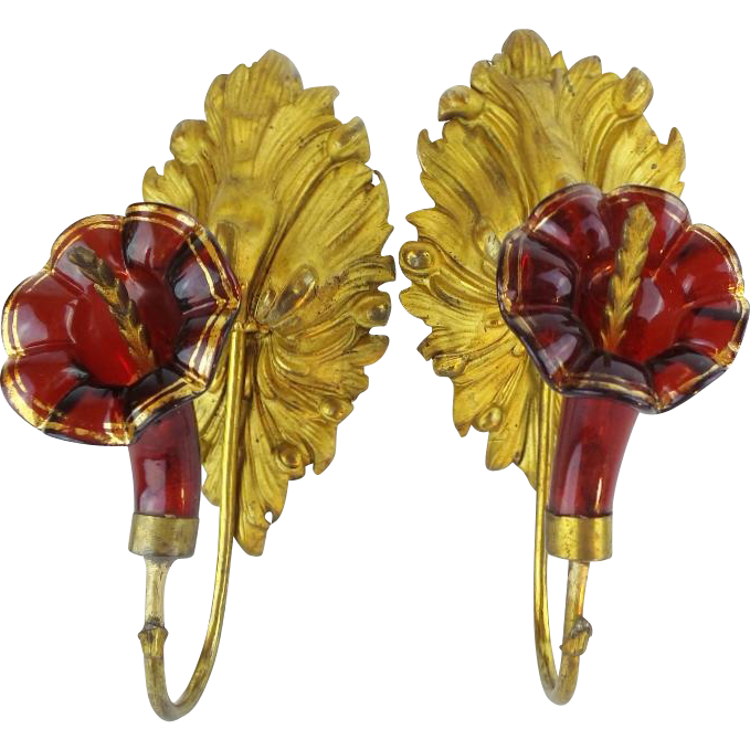"Antique Ruby Glass Ormolu Drapery, Curtain Tie Backs ""BIG Gilt Leaves & Glorious Ruby Flowers """