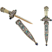 "Austrian Silver, Enameled & Jeweled Dagger  "" Turquoise, Pearls  and  Green Hardstone   """