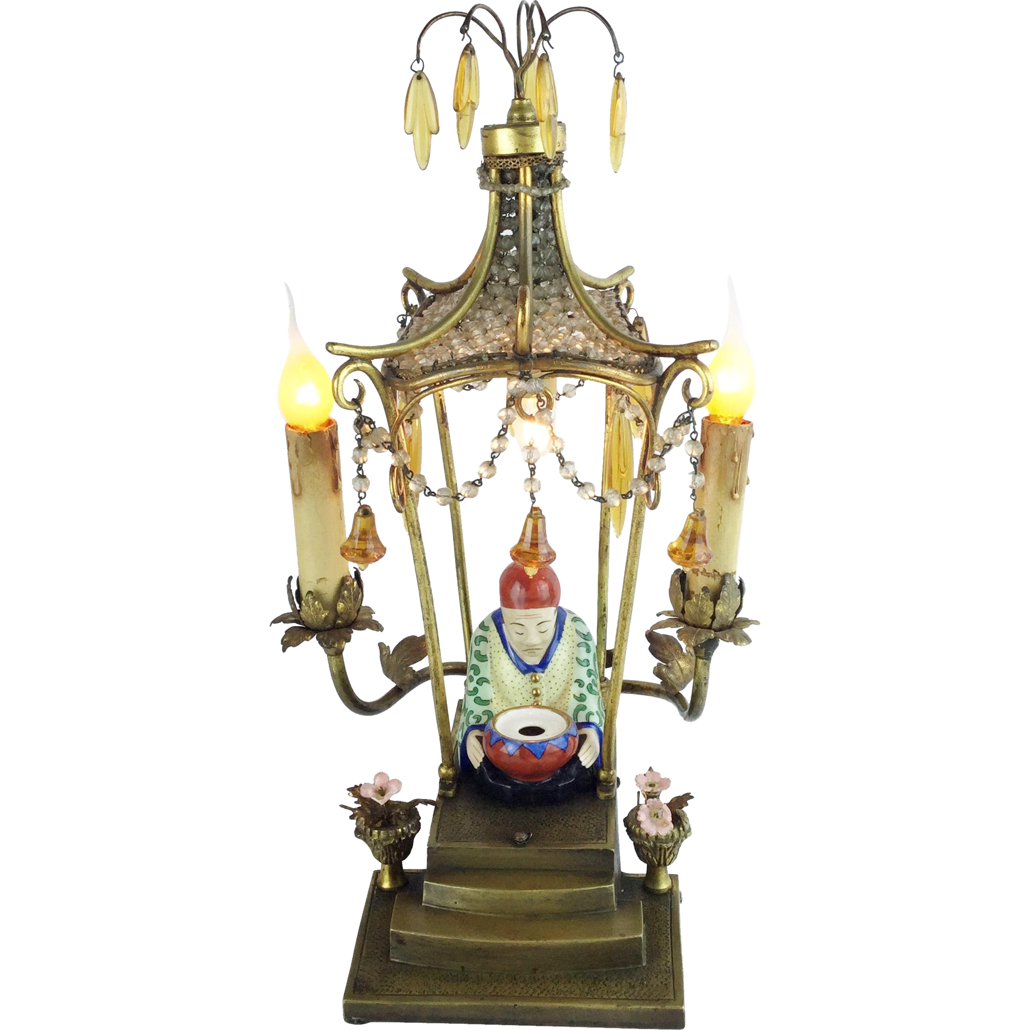 "LAYAWAY French Crystal Bronze Pagoda Lamp ""ORIENTAL MAN"""