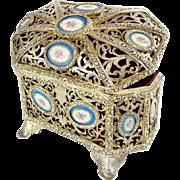 """Antique French Bronze Casket Hinged Box """" 15 PORCELAIN PLAQUES"""""""