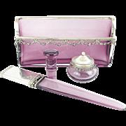"""Antique French Lavender & Silver Desk Set """"Letter Holder, Paper Knife, Seal, & Ink Pot """""""