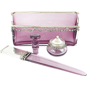 "LAYAWAY Antique French Lavender & Silver Desk Set ""Letter Holder, Paper Knife, Seal, & Ink Pot """