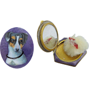"Antique Purple Enamel ""Jack Russell Dog"" Compact W Original Puff."