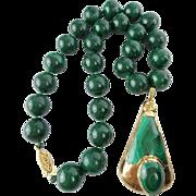 "Vintage Estate Malachite ""14mm BEADS"" Necklace  w Malachite Gold Pendant"