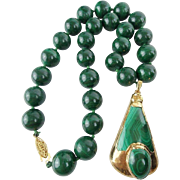 "Vintage Estate Malachite ""14mm BEADS"" Necklace  w Malachite Gold Pendant"