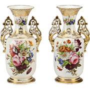 "Antique Napoleon III Style Porcelain Vases  ""GRANDEST Hand-painted  Flowers"""