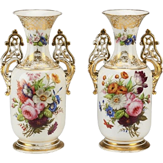 "Antique Napoleon III Style Porcelain Vases  ""GRANDEST Hand-painted  Flowers"""