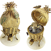 "LAYAWAY  SORRY I SOLD   Palais Royal Scent Caddy."" Gilt Ormolu  Thatch Hut """