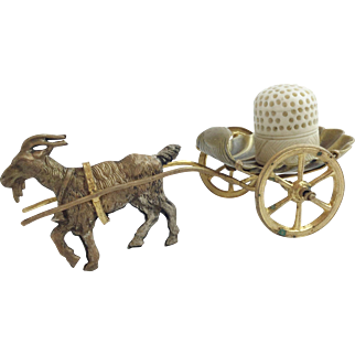 """Palais Royal Goat Cart Thimble Holder with Carved Bone Thimble """"DARLING & SPECIAL"""""""