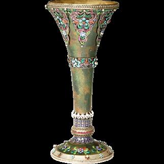 """GRANDEST Austrian or Russian Jeweled Enamel Vase  """"EXQUISITE & RARE """""""