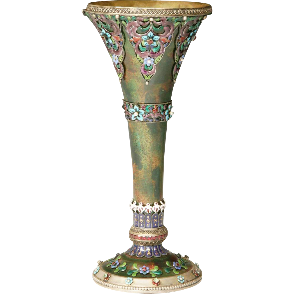 "GRANDEST Austrian or Russian Jeweled Enamel Vase  ""EXQUISITE & RARE """