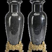"Antique 18"" French Marble Urn Vases ""G L O R I O U S    Gilt Bronze Footed Base"""